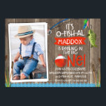 """Its O-fish-al Photo1st Birthday Invitation For Boy<br><div class=""""desc"""">Looking for an it&#39;s o-fish-al photo first birthday invitation for your little boy? This it&#39;s o-fish-al first birthday invitation is a cute way to invite your little one&#39;s guests to his party. The design features a green fish, fishing rod, fishing bobber and some cottontail on a faux wood background image....</div>"""