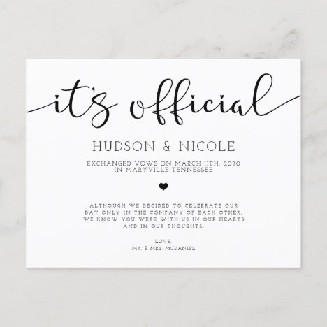 It's Official Elopement Wedding Announcement Postcard
