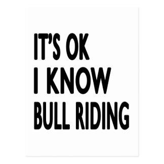 It's OK I Know Bull Riding Dance Postcard