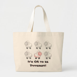 It's OK to be Different - Pink Sheep Cartoon Large Tote Bag