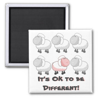 It's OK to be Different - Pink Sheep Cartoon Magnet