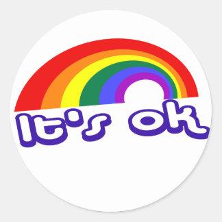 """""""It's ok"""" with rainbow Classic Round Sticker"""
