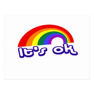 """""""It's ok"""" with rainbow Postcard"""