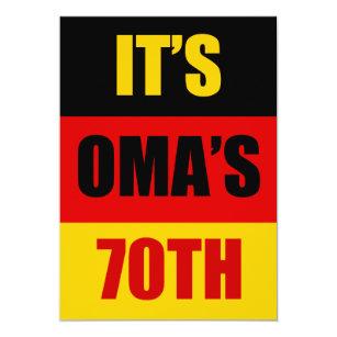 Its Omas 70th Birthday German Flag Invite