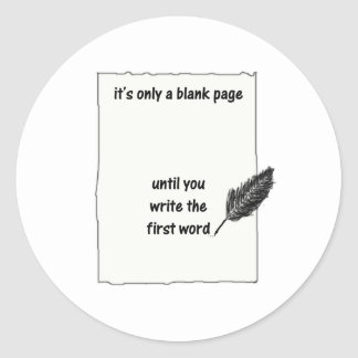 It's only a blank page... classic round sticker