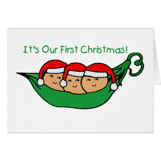 It's Our First Christmas - Triplets Greeting Card