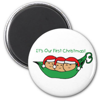 It's Our First Christmas - Triplets Refrigerator Magnets