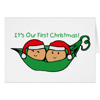 It's Our First Christmas Twin Pod  Greeting Card