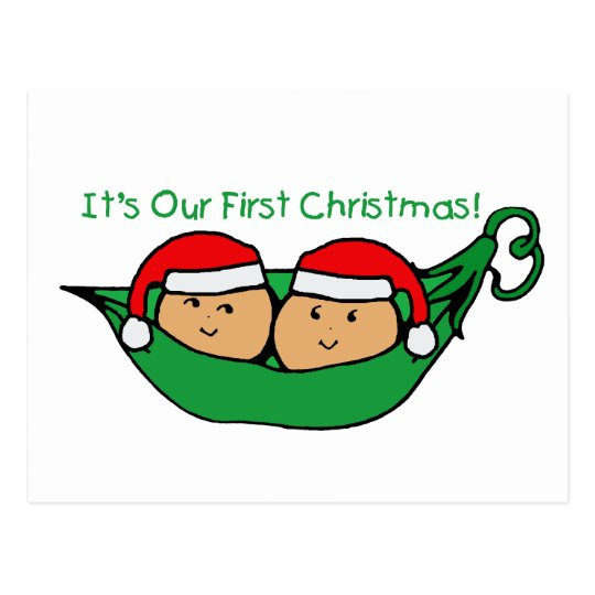 It's Our First Christmas Twin Pod  Postcard