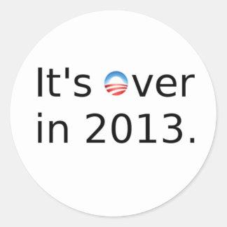 It's Over in 2013 Anti-Obama Classic Round Sticker