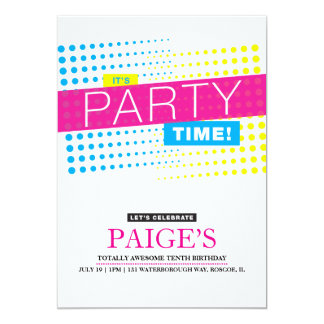 "It's Party Time Birthday Invitation 5"" X 7"" Invitation Card"