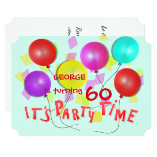 It's Party Time Colorful Balloons Personalized Card