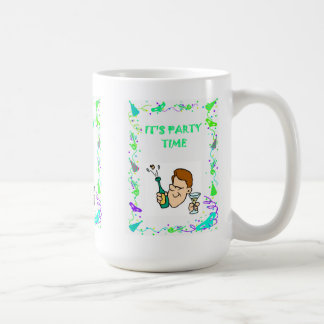 It's party time, popping corks classic white coffee mug