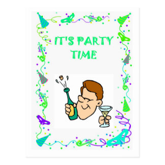 It's party time, popping corks postcard