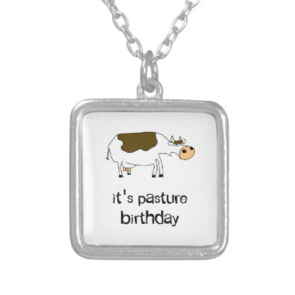 It's pasture birthday funny cow silver plated necklace