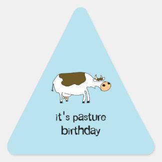 It's pasture birthday funny cow triangle sticker