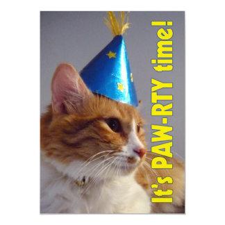 It's Paw-rty Time Cat - Birthday Invitation