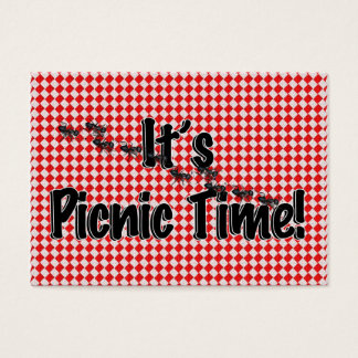 It's Picnic Time! Red Checkered Table Cloth w/Ants Business Card