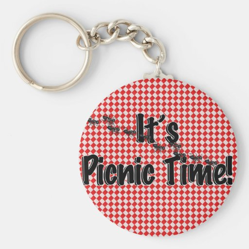 It's Picnic Time! Red Checkered Table Cloth w/Ants Key Chain