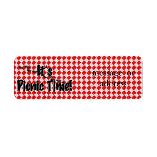 It's Picnic Time! Red Checkered Table Cloth w/Ants Custom Return Address Label