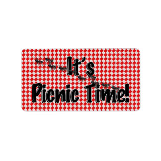 It's Picnic Time! Red Checkered Table Cloth w/Ants Address Label