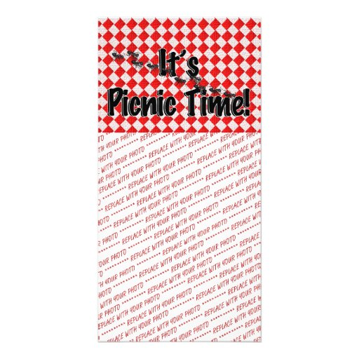 It's Picnic Time! Red Checkered Table Cloth w/Ants Picture Card