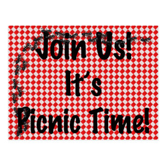 It's Picnic Time! Red Checkered Table Cloth w/Ants Postcard