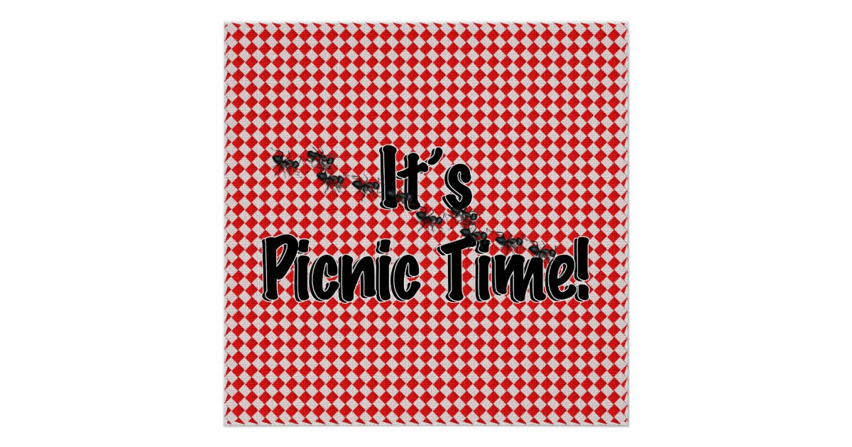 It's Picnic Time! Red Checkered Table Cloth w/Ants Poster ...