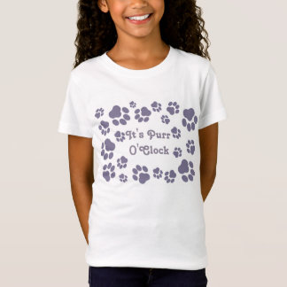 """It's Purr O'Clock"" Girls' Pawprint T-Shirt"