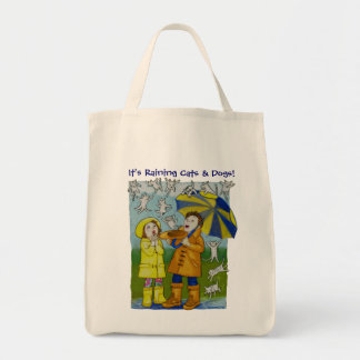 """""""It's Raining Cats & Dogs!"""" Grocery Tote Bag"""