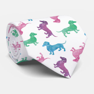 It's Raining Dachshunds Pastel Colored Dog Pattern Tie