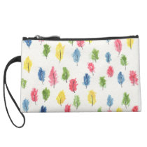 It's raining feathers suede wristlet wallet