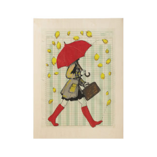 It's Raining Lemons! Wood Poster