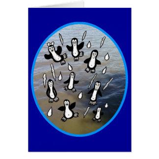 It's Raining Penguins Customizable Design Greeting Card