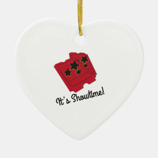 Its Showtime Double-Sided Heart Ceramic Christmas Ornament