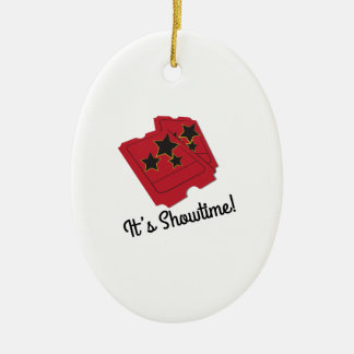 Its Showtime Double-Sided Oval Ceramic Christmas Ornament