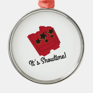 Its Showtime Round Metal Christmas Ornament