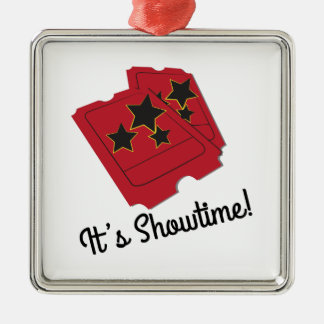 Its Showtime Square Metal Christmas Ornament