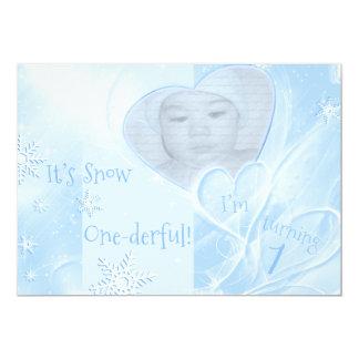 "It's Snow Onederful Blue 1st Birthday 5"" X 7"" Invitation Card"