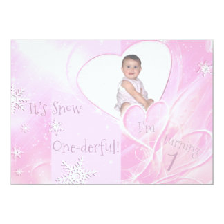 It's Snow Onederful Pink 1st Birthday Card