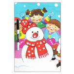 It's snow time! Merry Christmas, Kids in the snow Dry Erase Boards