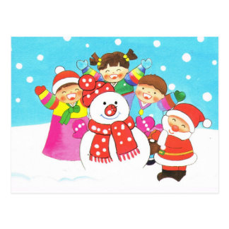 It's snow time! Merry Christmas, Kids in the snow Postcard