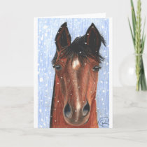 It's Snowing Horse Greeting Card
