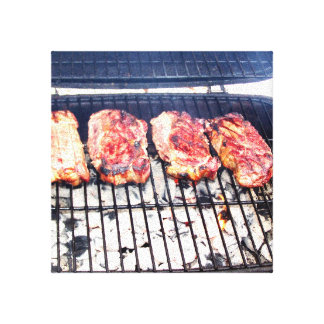 It's Snowing, Let's Grill Ribeyes! Gallery Wrapped Canvas
