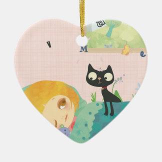 It's spring! heart ceramic ornament