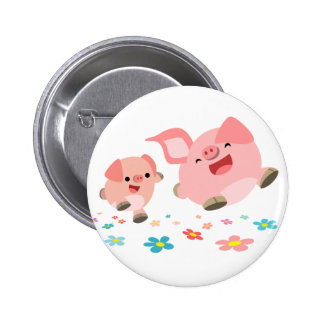 It's Spring!!-Two Cute Cartoon Pigs  Button Badge