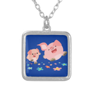 It's Spring!!-Two Cute Cartoon Pigs Necklace