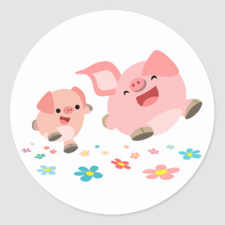 It's Spring!!-Two Cute Cartoon Pigs Sticker