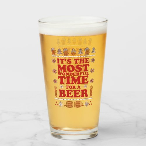 Its the most wonderful time Christmas holiday beer Glass