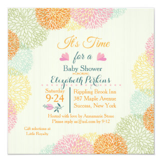 It's Time Floral Baby Shower Invitation